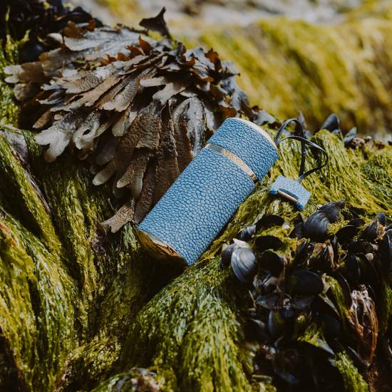 Denim Blue Shagreen - Travel Case