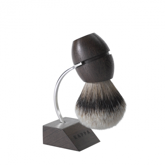 Shaving Brush with Stand Wenge Wood Pure Silver Badger