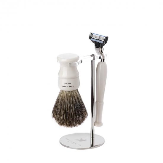 Shaving Set: Stand, Resin Ivory Brush  &  Mach 3 Razor