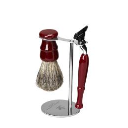 Shaving Set: Vintage Stand, Resin Pure Badger Brush & Mach 3 Venitian Red