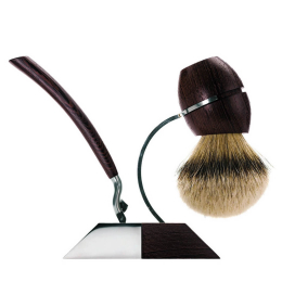 Pure Silver Badger Stand Wengé Wood with  Brush & Mach 3 Razor