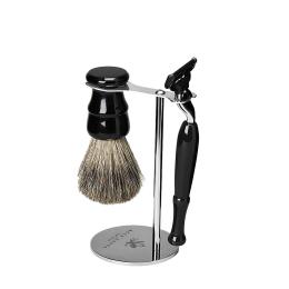 Shaving Set: Vintage Stand, Resin Pure Badger Brush & Mach 3 Venitian Black