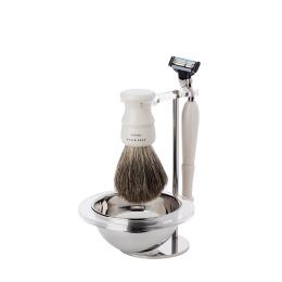 Shaving Set: Stand, Bowl & Resin Ivory Brush &  Mach 3 Razor